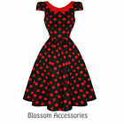 RKH39 Hearts & Roses Polka Dots Cap Sleeve Rockabilly Dress 50's Vintage Swing