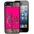 PERSONALIZED RUBBER CASE FOR iPHONE 8 7 6 5 5C SE PLUS HOT PINK CAMO DEER