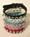 Pet Dog & Cat Personalized Collar with Rhinestone Charm Size: XS to L PC02