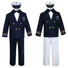 Baby Boys Toddler Formal Party Captain Navy Sailor Suits White Pants Outfits S-7