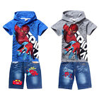 Spiderman Hoodie Tops T-Shirt+Jeans Shorts Cool Sets Kids Boys Girl Suits 2-8Yrs