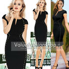 Womens Studded Optical Illusion Tunic Party Wear To Work Sheath Pencil Dress 510