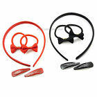 5 pcs HAIR ACCESSORIES SET 1 alice band 2 hair clips and 2 elastics red or black