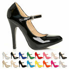 LADIES WOMEN MARY JANE STYLE HIGH STILETTO HEEL SUEDE PATENT