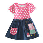Brand New Peppa Pig Polka Dots Print Clothes 2Y-6Y Girls Kids Dress Short Sleeve
