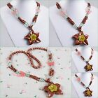 Goldstone olive jade volcano cherry quartz starfish butterfly beads necklace 28""
