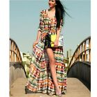 New Fashion Lady's Tie-Dye Printing Long Sleeve   Chiffon Georget Shirt Dress CB