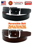 Внешний вид - MEN BLACK BROWN REVERSIBLE LEATHER BELT w REMOVABLE BELT BUCKLE - 2 BELTS IN ONE