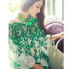 Fashion Off shoulder Chiffon Hollow Out Women Sleeve Blouse Top Leaf Print -CB