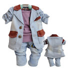 Toddler Boy 3 PC Outfit Sets Jean Casual suit Size 1-4 years Old!
