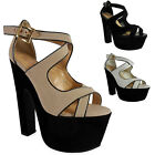NEW WOMENS LADIES ANKLE STRAPS HIGH BLOCK HEEL SHOES CHUNKY PLATFORM SANDALS SIZ