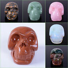 """45mm Carved gemstone skull statue figurine Collectible 1.8"""""""