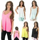 Womens New Chiffon Cami Top with Diamonte Detail Bling Vest