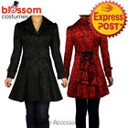RK87 Rockabilly Jacquard Steampunk Gothic Punk Winter Trench Coat Jacket Lace Up