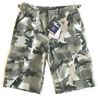 MENS STONE WASHED CARGO SHORTS Black camo Army Gents 100% cotton para combats