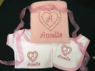 Personalised Baby Gift Set Blanket Vest and Bib Embroidered  Christening Birth