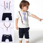 New Kids Baby Boy Cotton Clothes Short Sleeve Tie Belt Print Tops White
