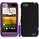 Purple Silicone Hybrid Case Cover For HTC ONE V + Screen Protector Stylus Pen