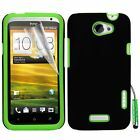 Green Hybrid Silicone Case Cover For HTC ONE X + Screen Protector Stylus Pen