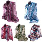 Polyester Lightweight Maxi Scarf Shawl Hijab, Aztec Style Print Striped Design