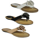 NEW WOMENS LADIES GIRLS SLIP ON FLAT HOME DIAMANTE SANDALS SLIPPERS SHOE SIZE UK