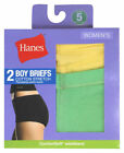 Hanes Women's Mid Rise Smooth Waistband Stretch Boy Short Brief, 2-Pack. D49EAS