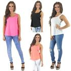 Womens New Sleeveless Vest with Zip Back Pink Neon Coral White Black