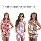 Womens New Floral Playsuits Zip Front Skort Bottom Neon