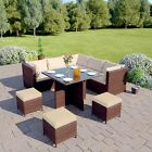 Rattan Garden Furniture Dining Table Set 6 Cube Chairs Conservatory Black Brown