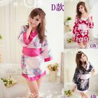 Women Sexy Babydoll Sleepwear Lingerie Dress Japan Kimono Flower Pajamas HA186TD