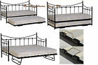 Torino Black Guest Bed Single Metal Day Bed With Option Of Trundle.