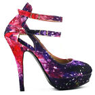 Multicolored Night Sky Mary Jane Cut Out Stiletto Party Pumps Sz 2.5/3/4/5/6/7/8