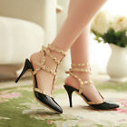Rivet Lady's Punk Point Toe Metal Studded Ankle Strap Flats Causal Shoes Sandals