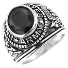Army Jet Black Stone US Military .925 Sterling Silver Mens Ring
