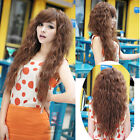 womens fashion weave wild curly wavy hair full long wigs cosplay party brown wig