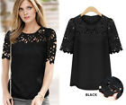 Women new Chiffon Lace Short Sleeve Crew Neck Size S-XL Casual Shirt Blouse Tops