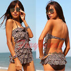 Leopard Ruffle Layered One Piece Halter Backless Pad Bikini Swimsuit Swimwear