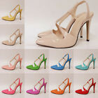 Womens Sexy Patent Pointed Toe High Heel Slingback D'orsay Sandals Shoes UK 2-9