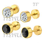 TTstyle Gold-Tone Surgical Steel Round Piecing Earrings A Pair Two Colour Choose