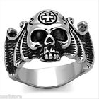 Mens No Stone Epoxy Skull Cross Silver Stainless Steel Ring