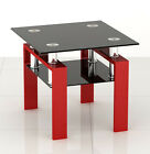 New Square Black Glass Coffee/Side/End Table with Black, Red or White Legs
