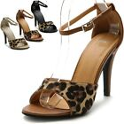 ollio Womens High Heel Shoes Leopard Strap Sandals
