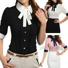Women Ladies Shirt Blouse Top Half Sleeves Stylish Neck Slim Fit OL Style M L XL