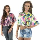 Womens New Oversized Floral Ruffle Frill Top Party Casual