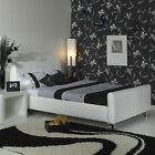 NEW Luxury 46ft Double WHITE Leather Bed + Mattress UK HAND MADE