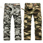Mens Camouflage Camo Army Work Cotton Trousers Cargo Combat Trousers Long Pants