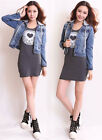 New Girls Ladies Vintage Long-sleeved Hooded Women Jean Coat Denim Short Jacket