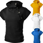 Cool Men Button Zipper Hooded Design Short Sleeve Sporty Casual T Shirt Tee Tops