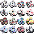 14 Sizes 16 Hot Popular Styles Acrylic Screw Fit Flesh Tunnels Black Ear Plugs
