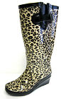LADIES LEOPARD WEDGE WELLINGTON BOOTS WITH ADJUSTABLE BUCKLE ON THE SIDE X1096